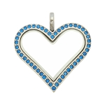 Sharp Heart  Stainless Steel Floating Locket with Capri Blue Crystals