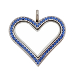 Sharp Heart  Stainless Steel Floating Locket with Sapphire Crystals