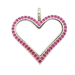 Sharp Heart Stainless Steel Floating Locket with Fuchsia Crystals
