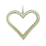 Sharp Heart Stainless Steel Floating Locket with Peridot Crystals