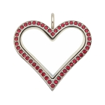 Sharp Heart  Stainless Steel Floating Locket with Ruby Crystals