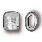 TierraCast Small Hammered Barrel Bead, Bright Rhodium