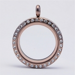 25mm Twist Chocolate Stainless Steel Floating Locket with Crystals
