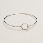 Stainless Steel Bangle Bracelet with Hexagon End