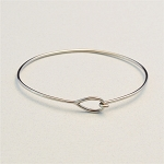 Stainless Steel Bangle Bracelet with Teardrop End
