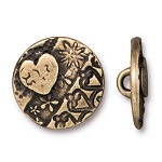 TierraCast AMOR Round Button, Brass Ox