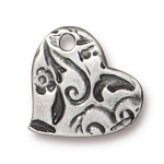 TierraCast Amor Heart Charm, Antiqued Pewter
