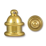 TierraCast 6mm Pagoda Cord Ends, Bright Gold Plated Brass, Pkg. of 2