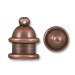 TierraCast 6mm Pagoda Cord Ends, Antiqued Copper Plated Brass, Pkg. of 2