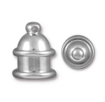 TierraCast 6mm Pagoda Cord Ends, Bright Rhodium Plated Brass, Pkg. of 2