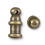 TierraCast 2mm Pagoda Cord Ends, Brass Ox , Package of 2
