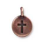 TierraCast Cross Charm, Antiqued Copper