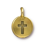 TierraCast Cross Charm, Antique Gold