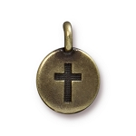TierraCast Cross Charm, Brass Ox
