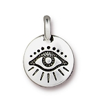 TierraCast Evil Eye Charm, Antique Silver