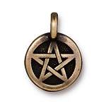 TierraCast Pentagram Charm, Brass Ox