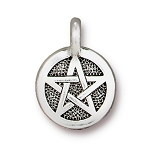 TierraCast Pentagram Charm, Antique Silver