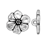 TierraCast Apple Blossom Button, Antique Silver