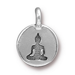 TierraCast Buddha Charm, Antique Silver