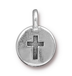 TierraCast Cross Charm, Antique Silver