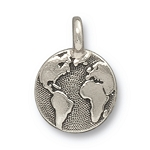 TierraCast Earth Charm, Antique Silver