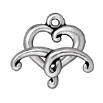 TierraCast Jubilee Heart Toggle Clasp, Antique Silver