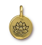 TierraCast Lotus Charm, Antique Gold
