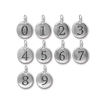 TierraCast Number Charm, Antique Silver