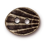 TierraCast Oval Shell Button, Brass Ox