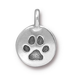 TierraCast Paw Print Charm, Antique Silver