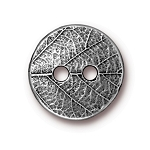 TierraCast Round Leaf Button, Pewter