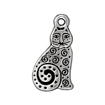TierraCast Spiral Cat Drop, Antique Silver