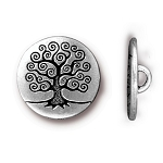 TierraCast Tree of Life Button, Antique Silver