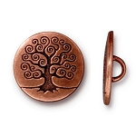 TierraCast Tree of Life Button, Antiqued Copper