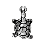 TierraCast Turtle Charm, Antique Silver