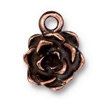 TierraCast Succulent Flower Charm, Antique Copper
