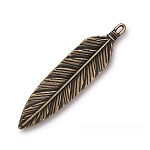 TierraCast 3 Inch Feather Pendant, Brass Ox