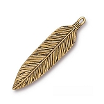 TierraCast 3 Inch Feather Pendant, Antique Gold