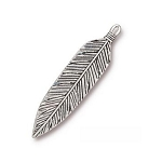 TierraCast 3 Inch Feather Pendant, Antique Silver