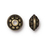 TierraCast 7mm Dotted Spacer Bead, Brass Ox