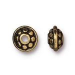 TierraCast 7mm Dotted Spacer Bead, Antique Gold, Pkg. of 50