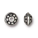 TierraCast 7mm Dotted Spacer Bead, Antique Silver