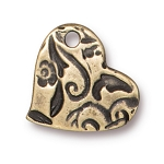 TierraCast Amor Heart Charm, Brass Ox