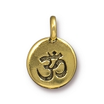 TierraCast Om Charm, Antique Gold