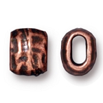 TierraCast Small Hammered Barrel Bead, Antique Copper, Pkg. of 4
