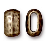 TierraCast Large Hammered Barrel Bead, Brass Ox, Pkg. of 4