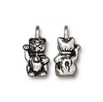 TierraCast Beckoning Kitty Charm, Antique Silver