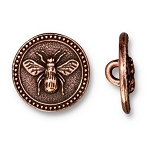 TierraCast Bee Button, Antique Copper