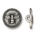 TierraCast Bee Button, Antique Silver