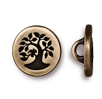 TierraCast Small Bird in a Tree Button, Brass Ox